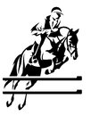 Show jumping horseman design black and white equestrian sport emblem Royalty Free Stock Images