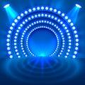 Show light podium blue background.