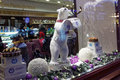 Show window of the confectionery sever in st petersburg russia december toy polar bear founded as a single bakery on nevsky Royalty Free Stock Photography