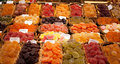 Show window with multi colored fruit jelly in the market Royalty Free Stock Photo