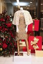 Showcase Christmas shop with mannequin expensive clothes and a C