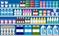 Showcase fridge for cooling dairy products. Royalty Free Stock Photo