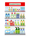 Showcase with hygiene items household cleaning and vector illustration Stock Photography