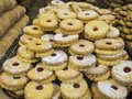 stock image of  Showcase a pastry shop with cookies with jam.
