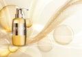 Shower Gel Bottle Template for Ads or Magazine Background.