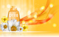 Shower Gel, Cream Bottle with Flowers Chamomile Template for Ads