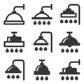 Shower Icon Set on White Background. Vector