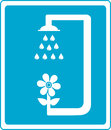 Shower sign with flower and drop of water blue silhouette Royalty Free Stock Photography