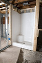 Shower stall being installed new bathroom home improvement remodeling project Royalty Free Stock Photos
