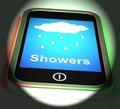 Showers on phone displays rain rainy weather displaying Royalty Free Stock Photo