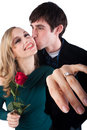 Showing of engagement ring Royalty Free Stock Photography