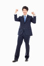 Showing fist young asian business man isolated on white background Royalty Free Stock Photography