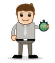 Showing time office and business people cartoon character vector illustration concept drawing art of young businessman holding Stock Photos