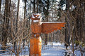 Showing the way moscow russia owl totem guiding in bittsevsky park during winter Royalty Free Stock Photos