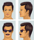 Showman brunet head with mustache and sunglasses vector illustration of front side man portrait isolated on grey background Royalty Free Stock Image