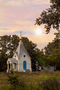 Shows landscape background church Royalty Free Stock Images