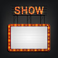 Showtime signboard retro style with light frame Royalty Free Stock Photo