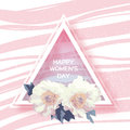 Showy Bouquet. White Peony Flowers Greeting card. Triangle frame