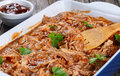 Shredded meat tossed in barbecue sauce Royalty Free Stock Photo