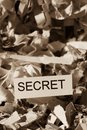 Shredded paper secret tagged with symbol photo for data destruction banking secrecy and economic espionage Royalty Free Stock Photography