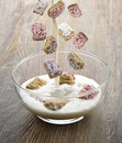 Shredded wheat cereal assortment of with milk Stock Images