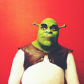 Shrek cartoon character made of wax sankt petersburg museum exhibition in bucharest Royalty Free Stock Photos