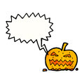 Shrieking cartoon pumpkin retro with texture isolated on white Royalty Free Stock Photography
