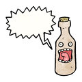 Shrieking wine bottle cartoon character retro with texture isolated on white Royalty Free Stock Photo
