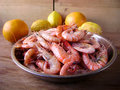Shrimp appetizer prawn cooked seasoned seafood dish Stock Photography