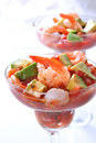 Shrimp with Avocado Salsa Sauce Royalty Free Stock Photo
