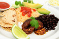 Shrimp Black Bean And Rice Plate Royalty Free Stock Photography