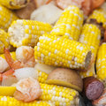 Shrimp boil close up view of with corn potatoes and sausage shallow dof Royalty Free Stock Photos