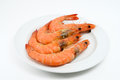 Shrimp boiled on white plate Royalty Free Stock Image