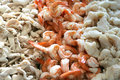 Shrimp, chicken, fish cooked Royalty Free Stock Images