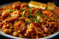 Shrimp and Chicken Gumbo with Scallions Royalty Free Stock Photo