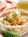 Shrimp cocktail over bowl Stock Images