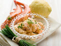 Shrimp cocktail over bowl Stock Photography