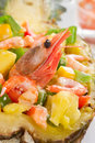 Shrimp cocktail with peppers lettuce and sauce Stock Photos