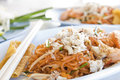 Shrimp and crap Pad Thai Stock Photo