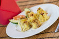 Shrimp dim sum a plate of fresh tahi on white plate Royalty Free Stock Image