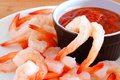 Shrimp with dipping sauce close up on a plate Stock Photo