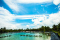 Shrimp farms with blue sky and white clouds Royalty Free Stock Images