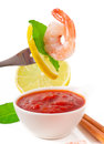 Shrimp on fork isolated white Stock Photos