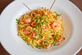 Shrimp fried noodles Royalty Free Stock Image