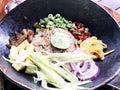 stock image of  Shrimp Fried Rice lime mango porksweet bean onion egg