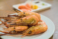 Shrimp grilled with sauce Stock Photo
