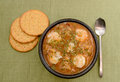 Shrimp gumbo with crackers for a creole meal Royalty Free Stock Photography