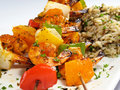 Shrimp Kebabs & Rice Stock Photography