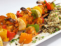 Shrimp Kebabs with Rice Stock Images