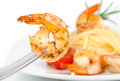 Shrimp linguine pasta focus shrimp Stock Photography